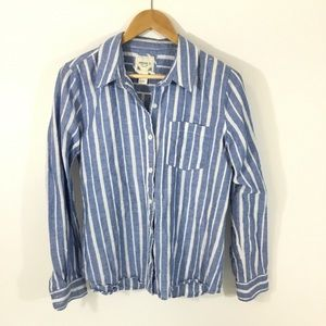 FOREVER 21   Striped Linen Button Down Top